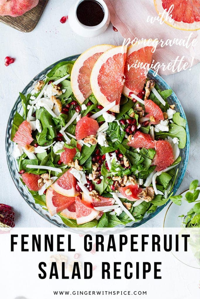 Pinterest pin with text at the bottom and the grapefruit salad seen from above.