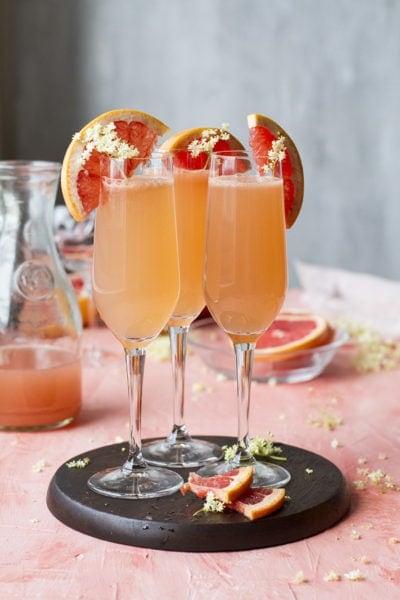 Grapefruit Mimosa Sparkling Cocktail with Elderflower