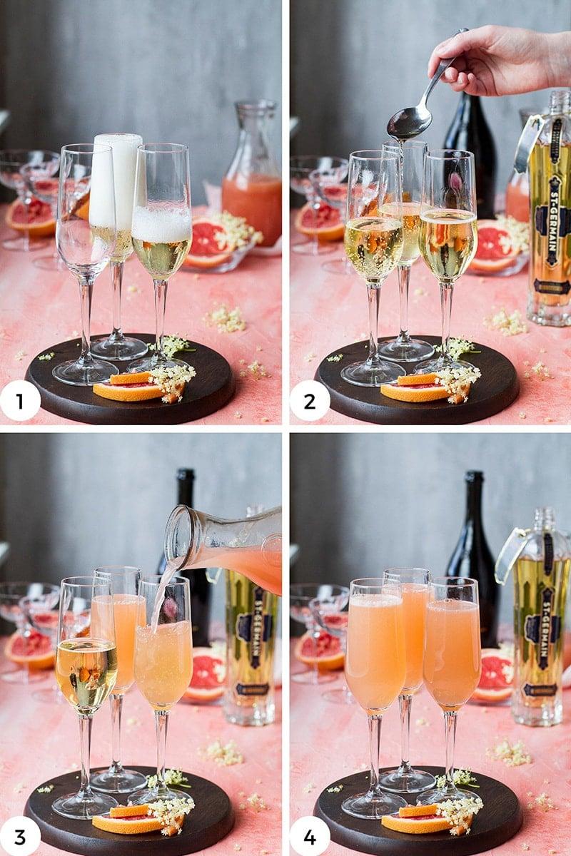 Steps to make grapefruit mimosa.