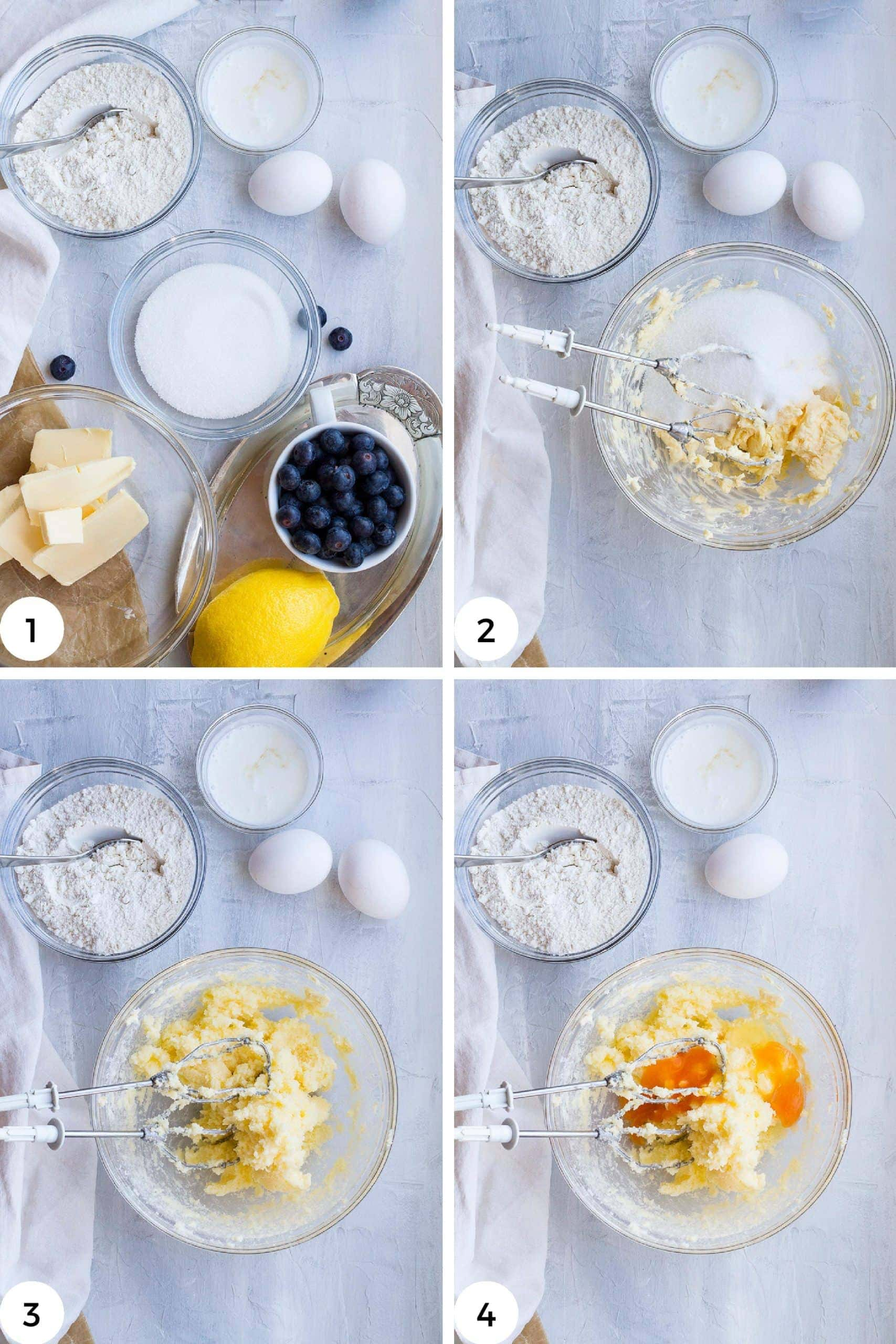 4 first steps to make this lemon blueberry cake.