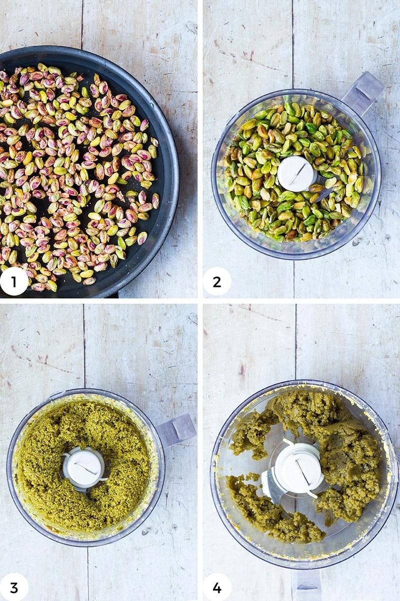 Steps to make pistachio paste.
