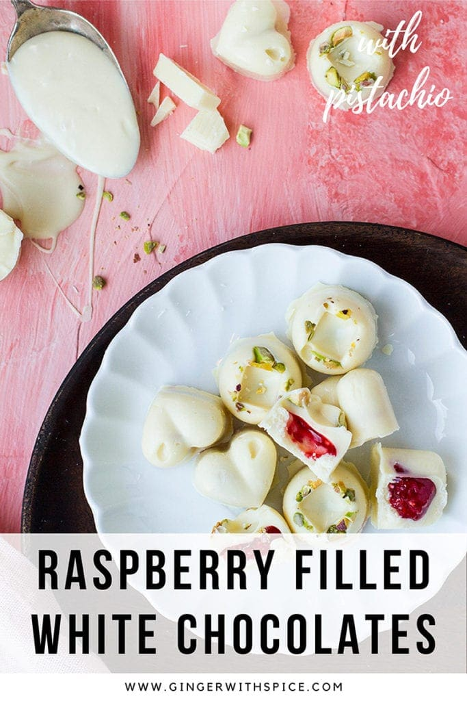 Pinterest pin with text overlay at the bottom. One picture with white chocolates seen from above.