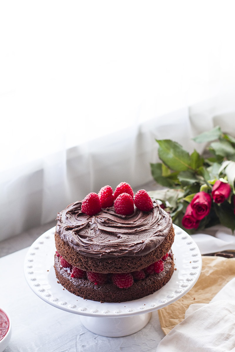 Chocolate cake with raspberry filling, backlighting.