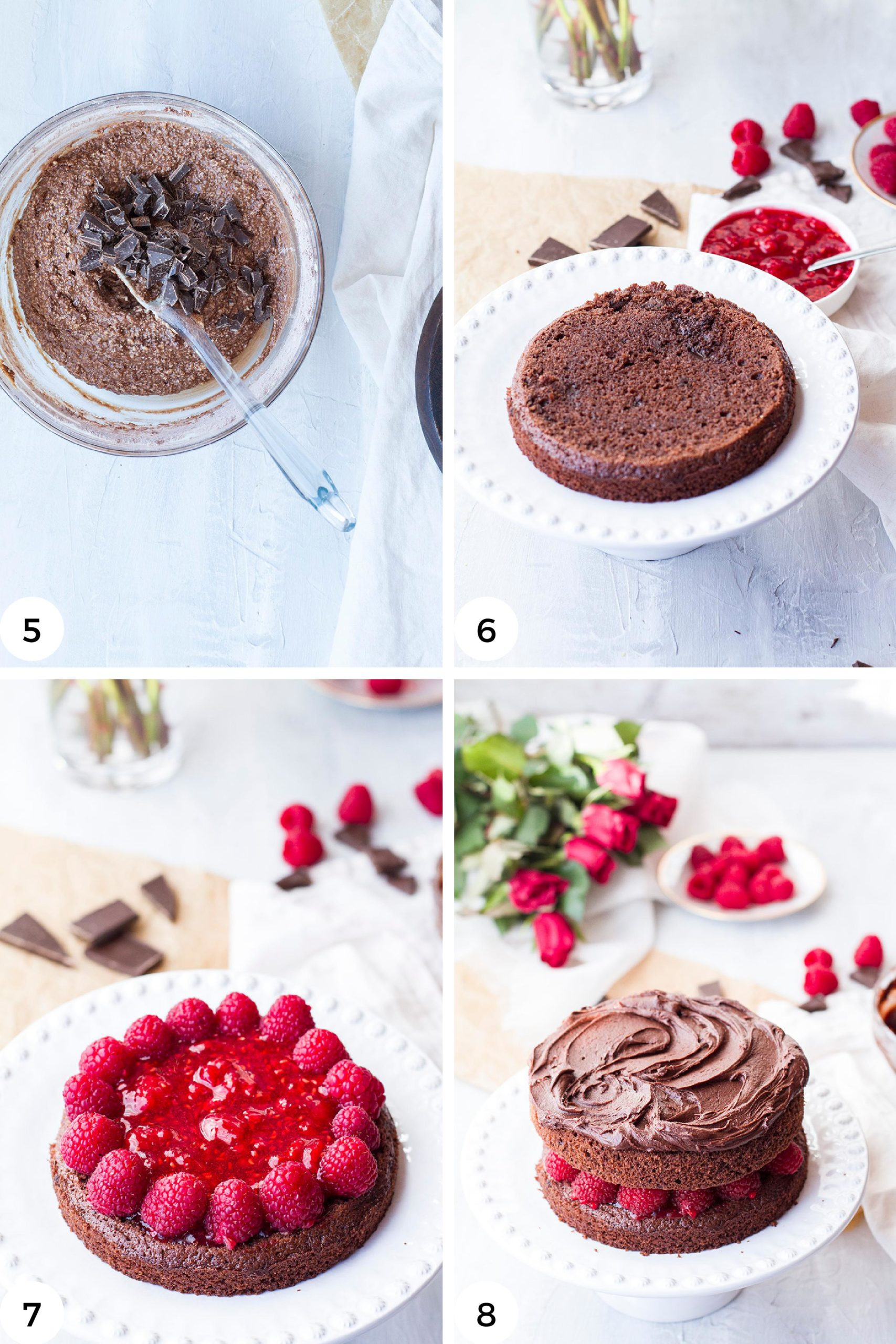 Steps to assemble the cake.