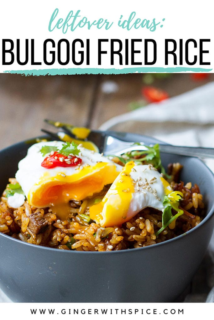 Dark grey bowl with rice and a poached egg. Pinterest pin.
