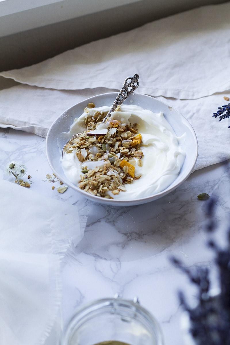 A blue bowl with greek yogurt and mango granola.