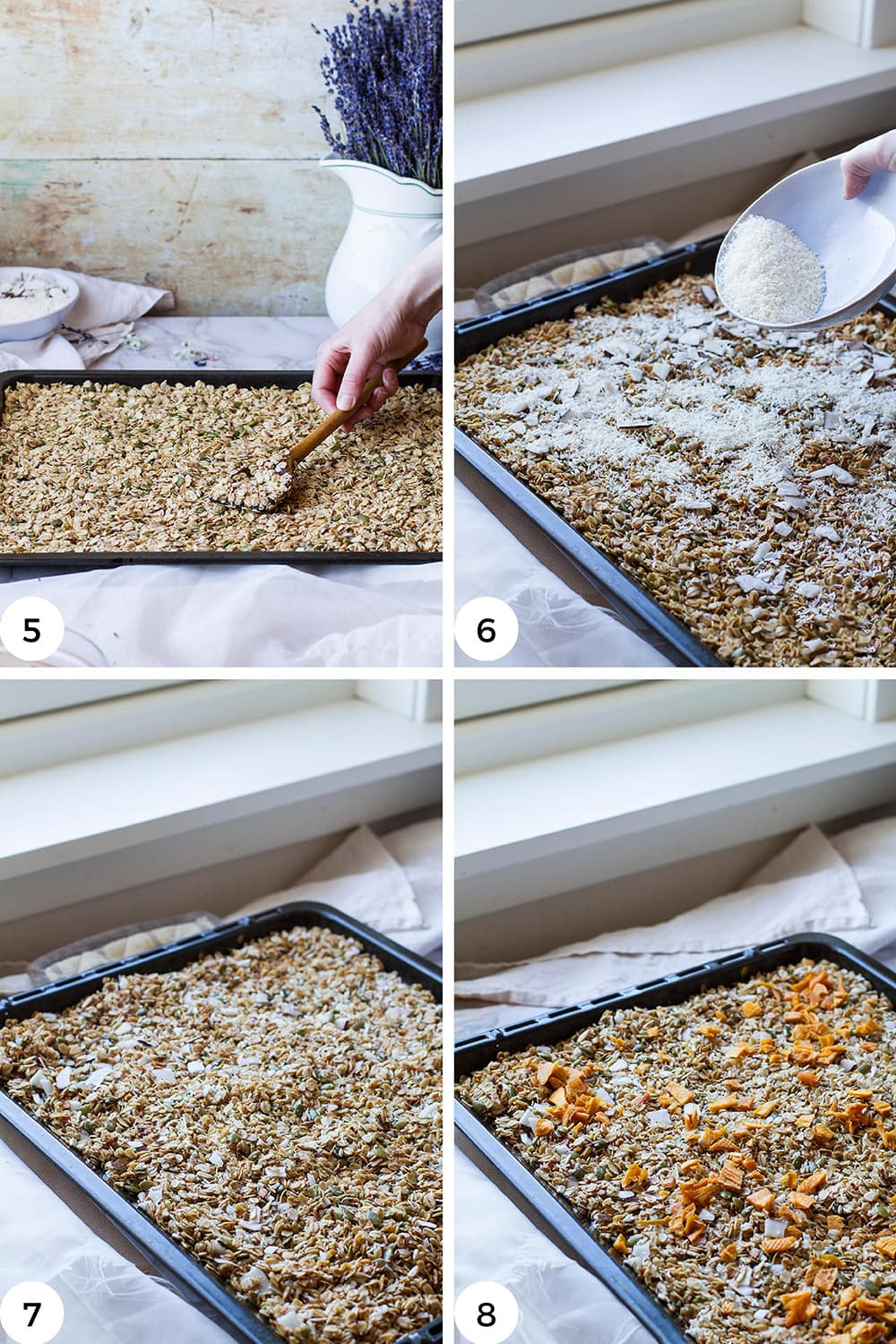 Steps to bake the granola.