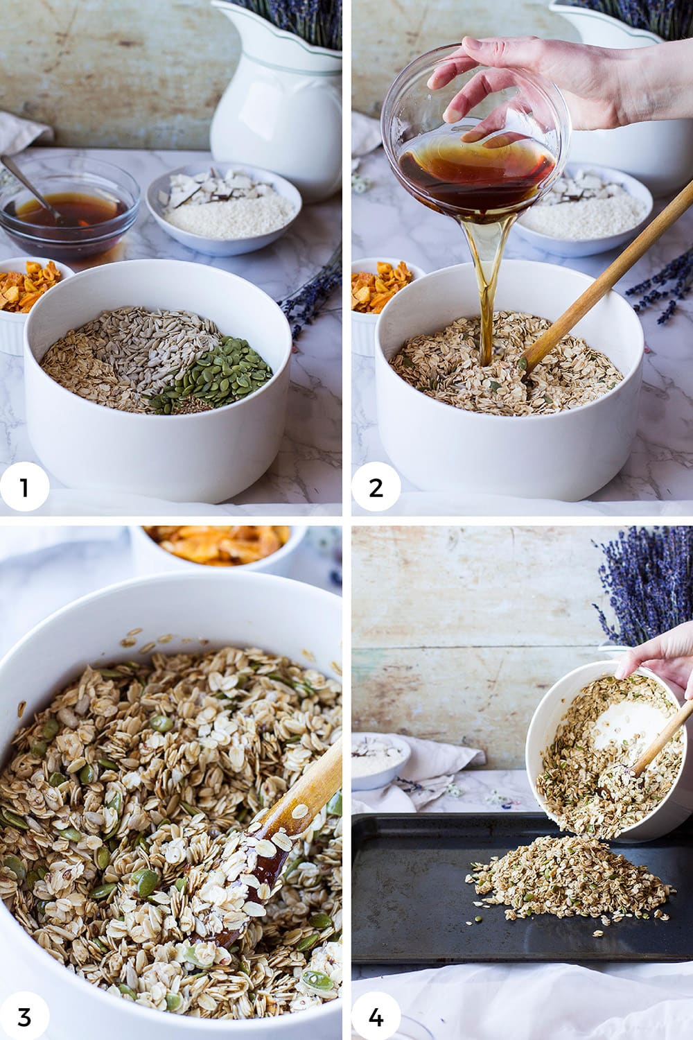 Steps to mix the granola.