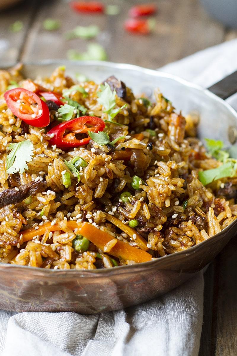 Close-up of the skillet with beef bulgogi fried rice.