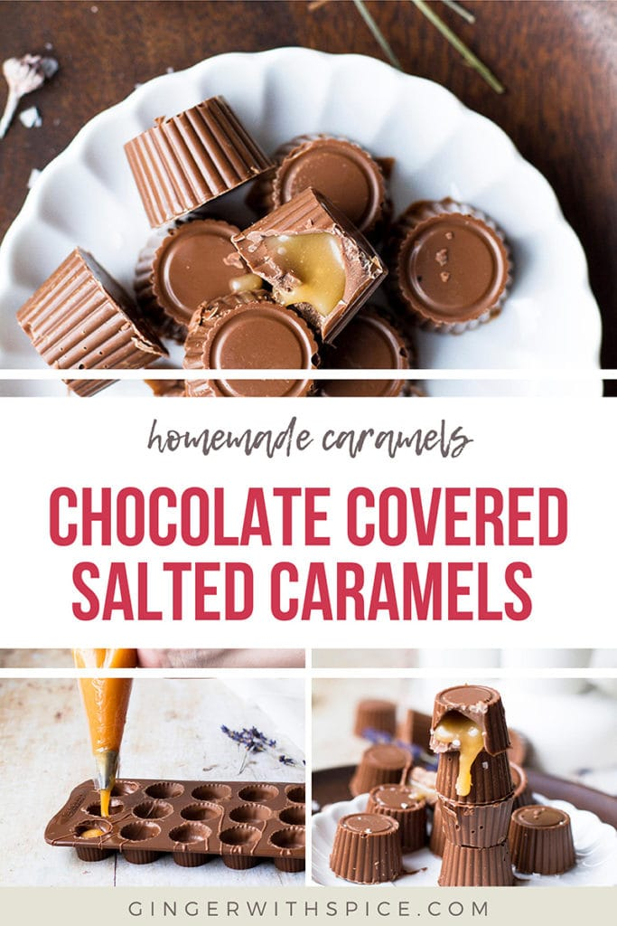 Pinterest pin with three images from the post and red text overlay: Chocolate Covered Salted Caramels.