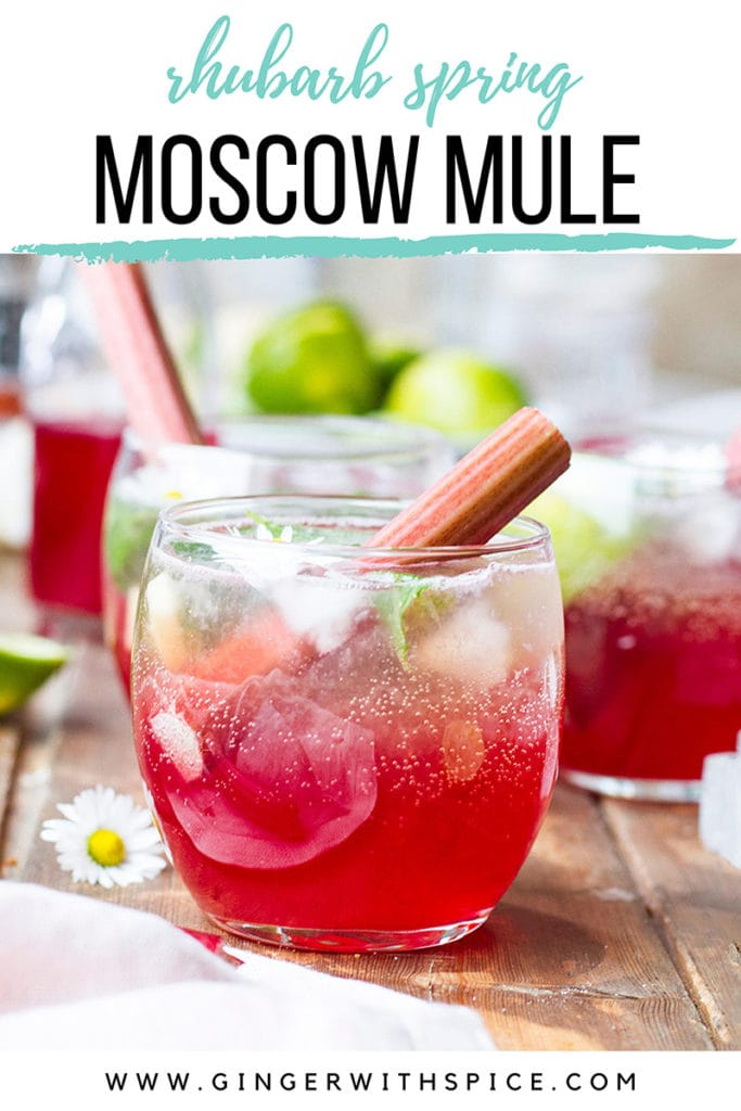 Close-up of a round glass with rhubarb Moscow mule and rhubarb stalks. Pinterest pin.