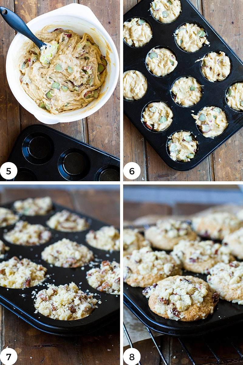 Steps to fill the muffin tins.