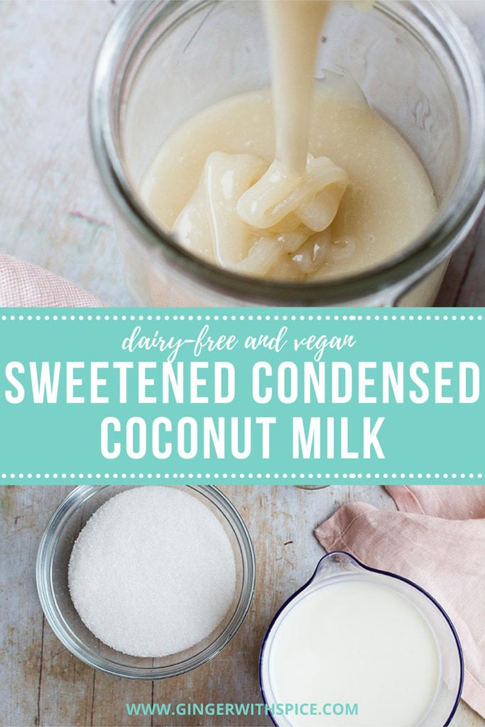 Pinterest pin for sweetened condensed coconut milk.