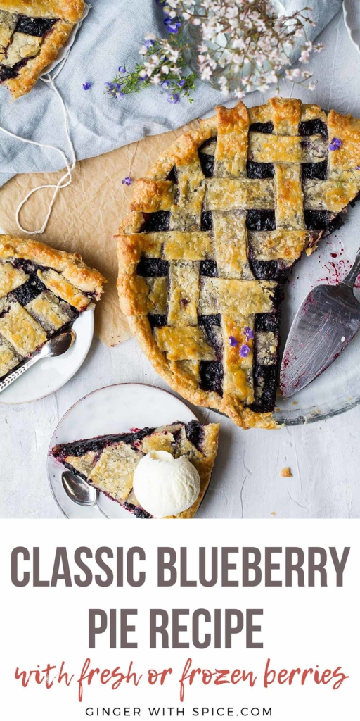 Long Pinterest pin with image of the pie seen from above.