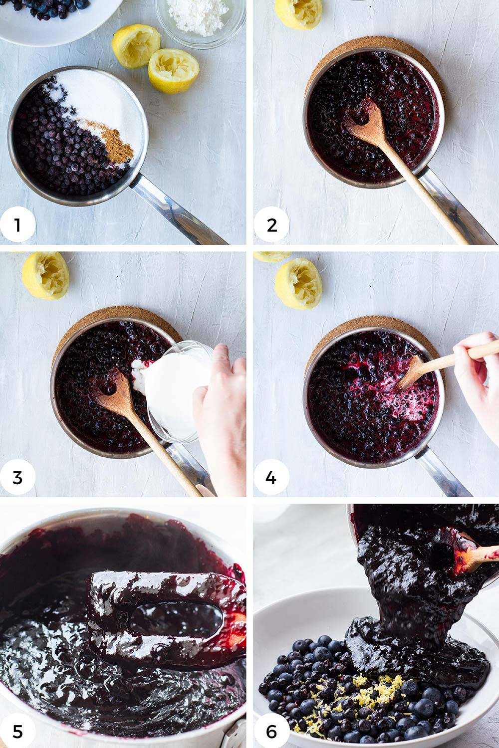 Steps to make cooked blueberry filling.