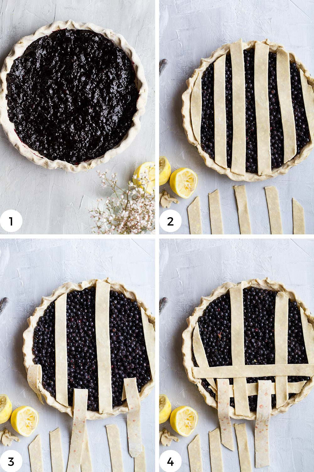 Steps to lattice the top of a pie.