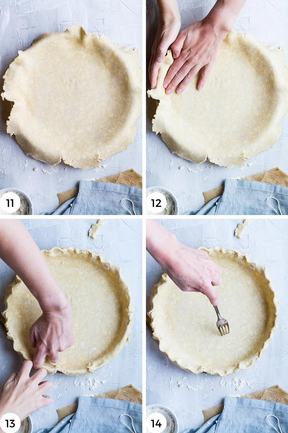 Steps to fill and shape the dough in a pan.