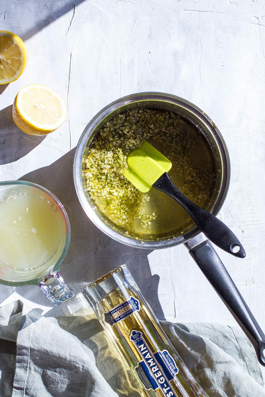 Ingredients to make elderflower lemon sorbet.