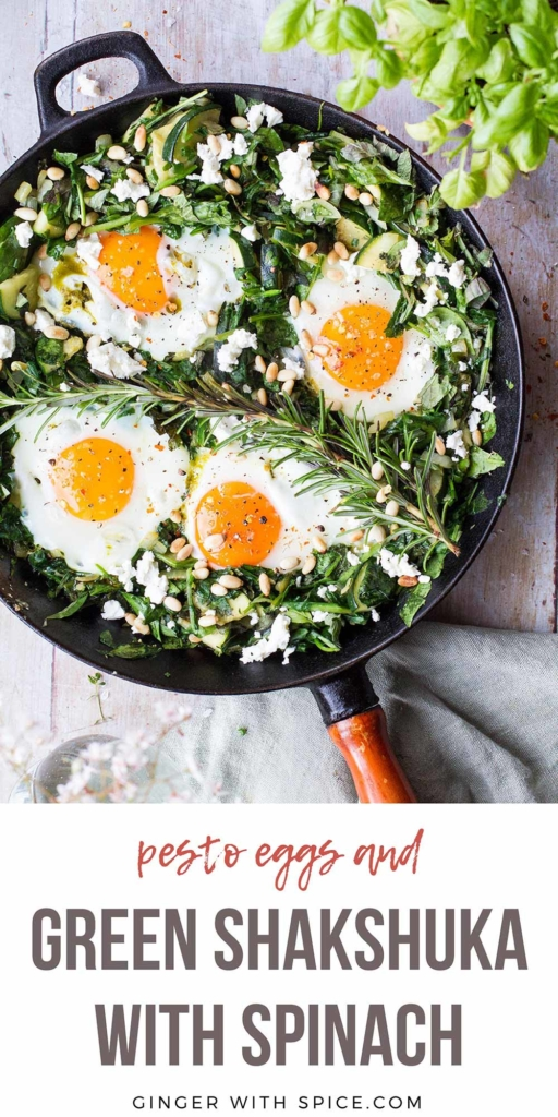 Pinterest pin with text overlay: Green shakshuka with spinach. Skillet with spinach and four sunny-side-up eggs.