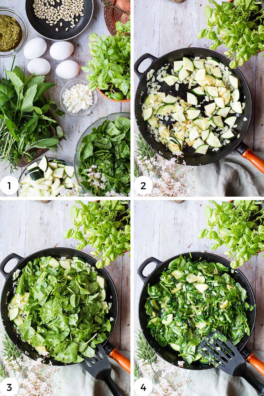 Steps to make the bed of spinach.