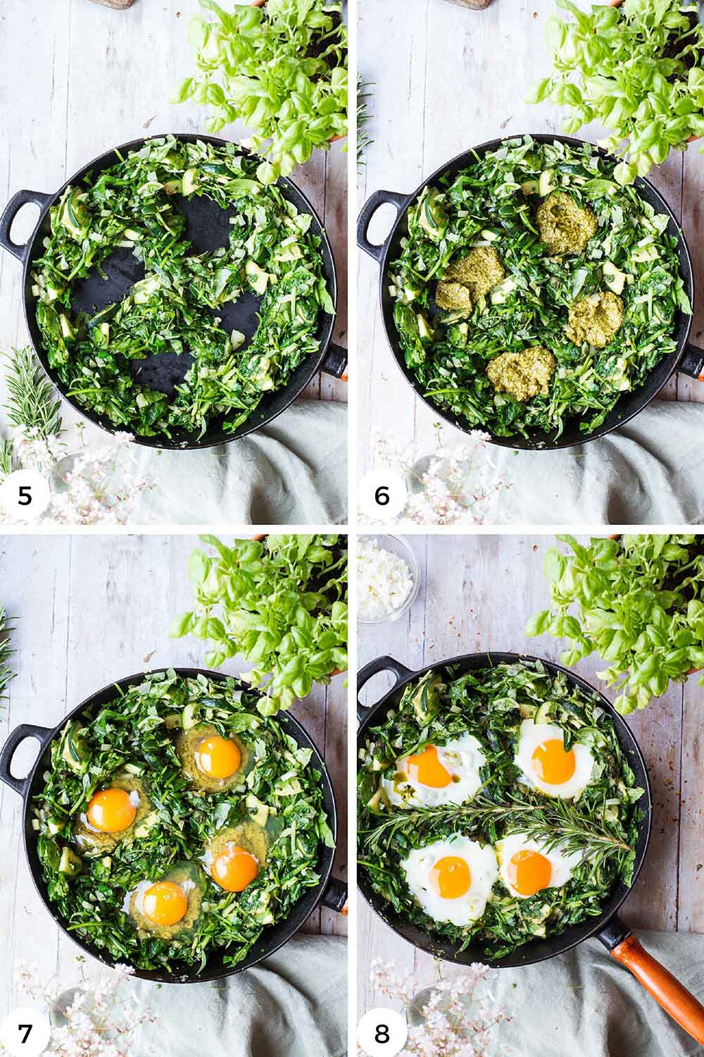 Steps to cook the eggs in the spinach.