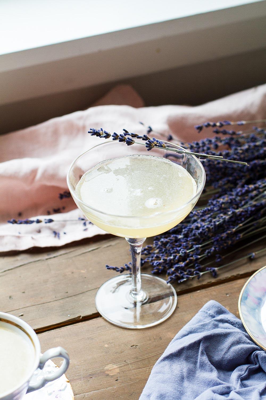Coupé glass in backlighting, lavender garnish.