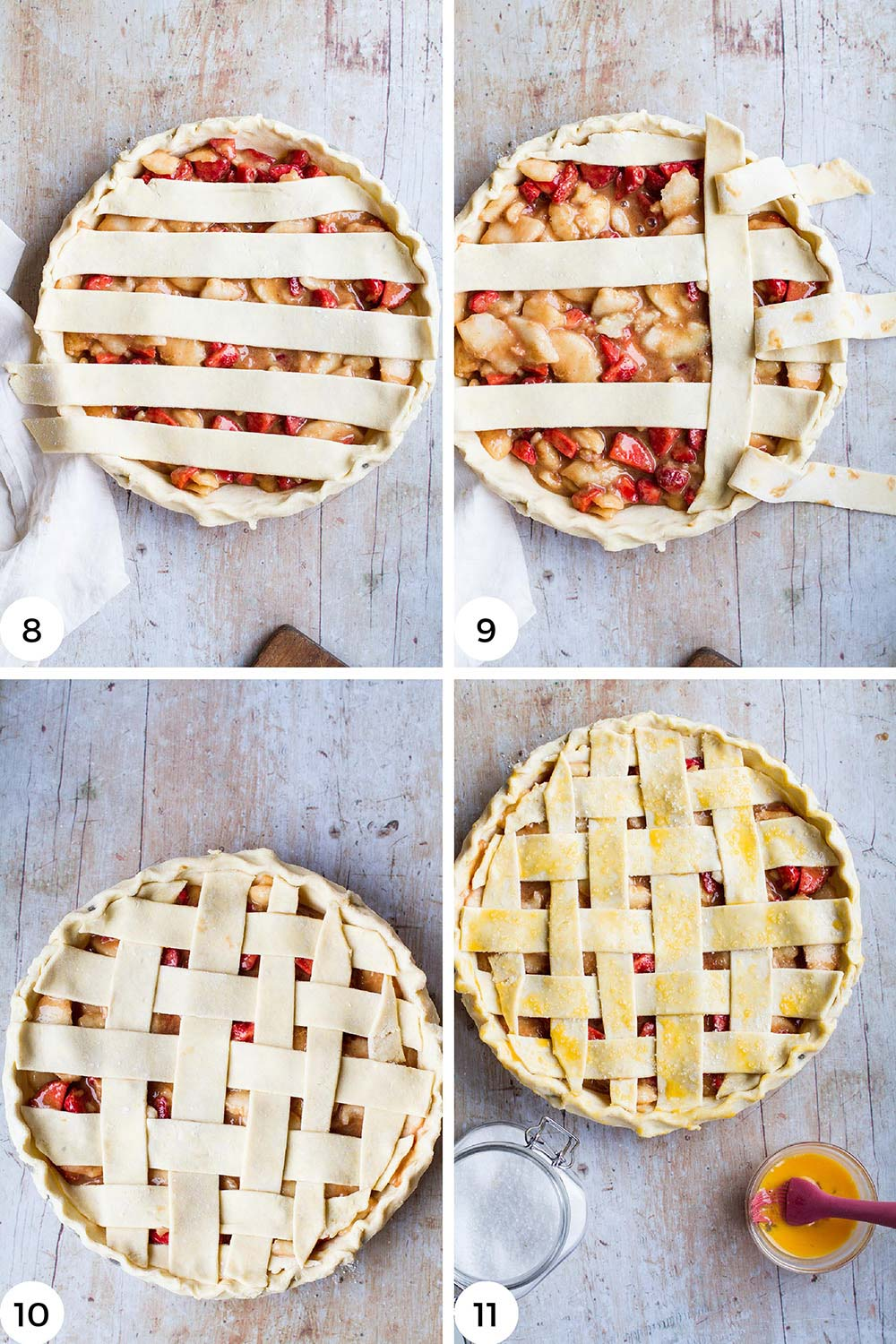 Steps to top the pie with lattice pattern.