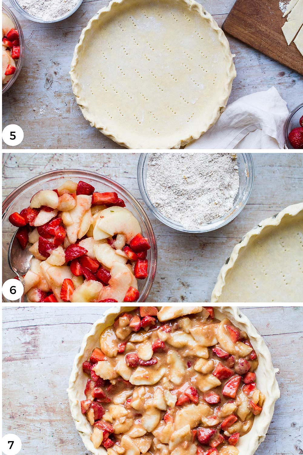 Steps to fill the pie.