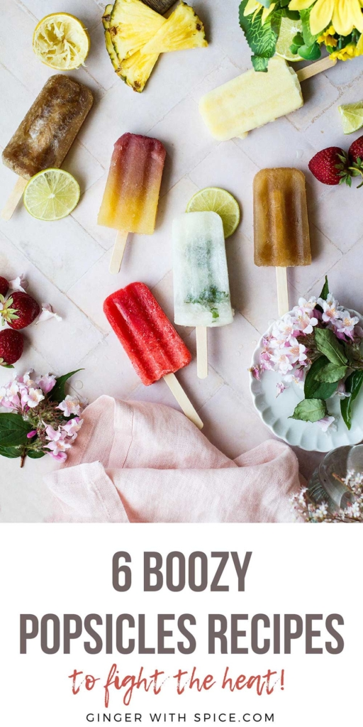 Pinterest pin for all six alcoholic popsicles.