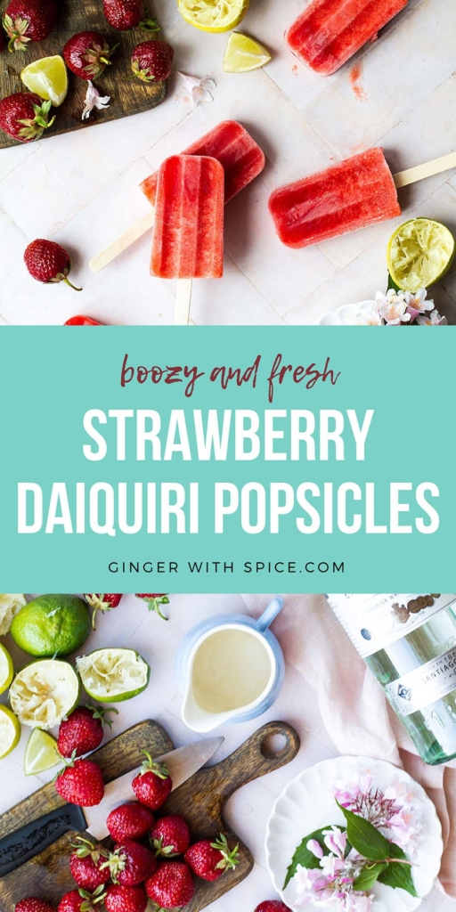 Pinterest pin for strawberry daiquiri popsicles.