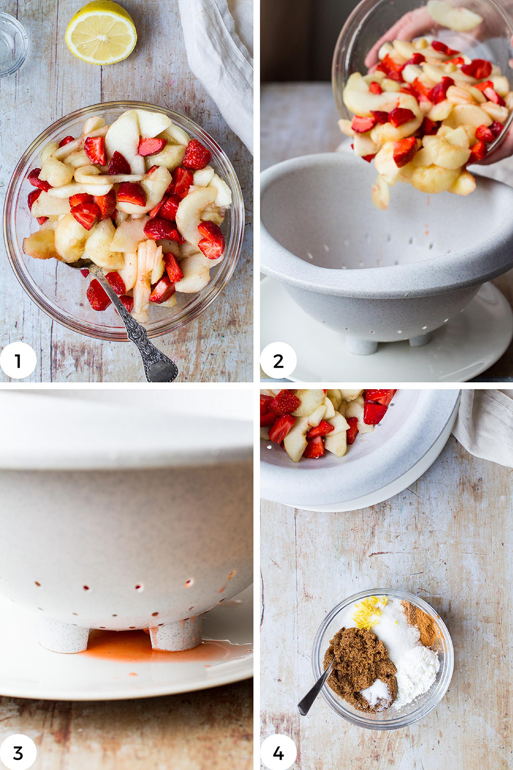 Steps to make strawberry peach filling.