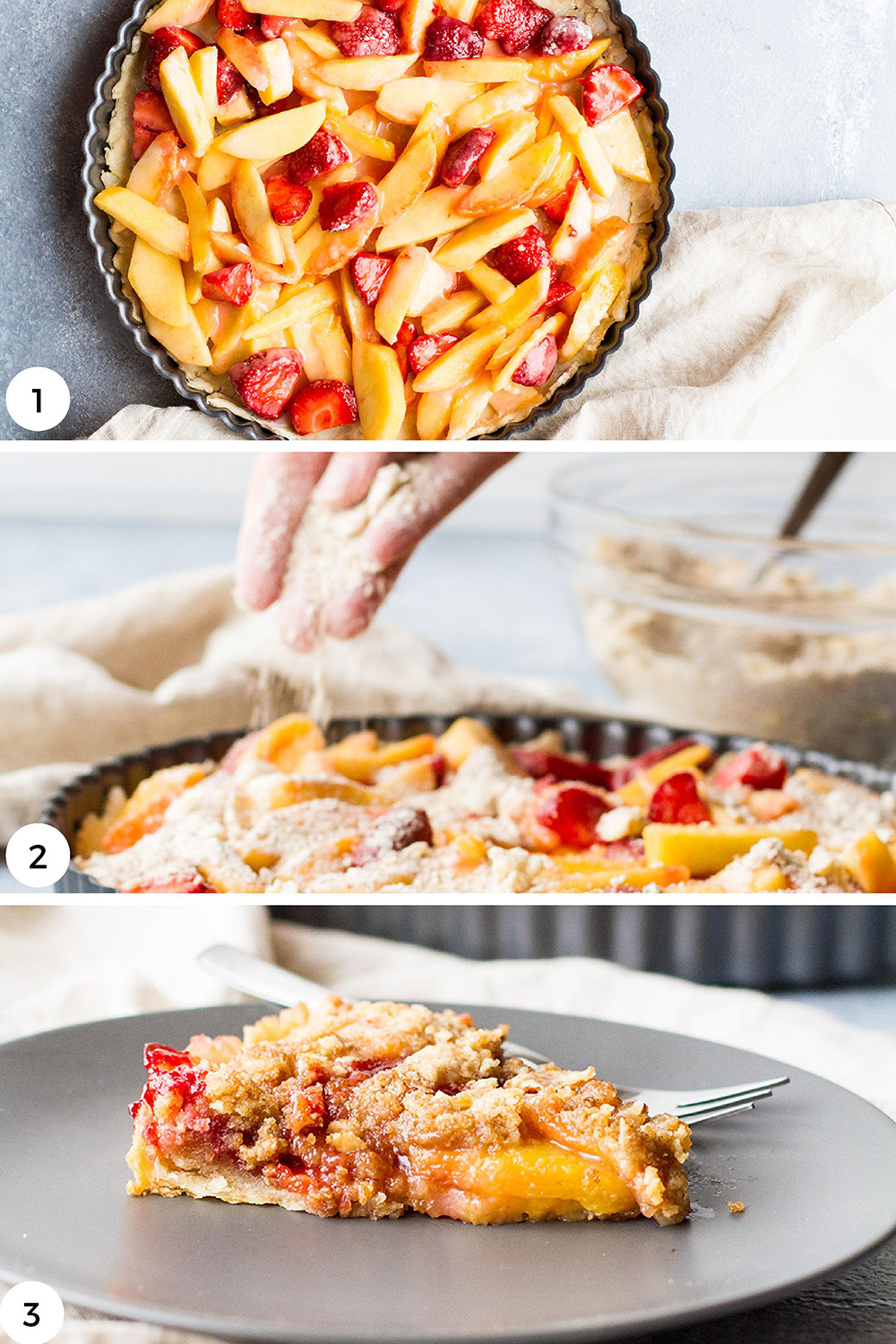 Steps to make peach pie with crumble top.