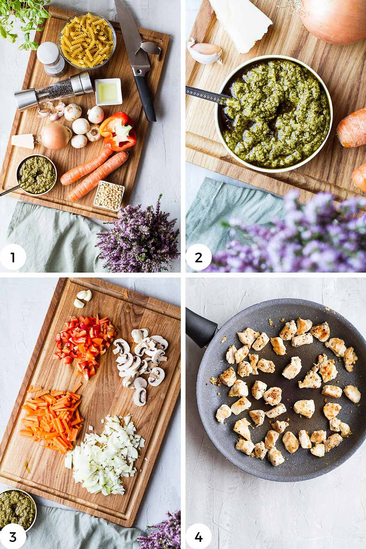 Steps to prep for the pesto pasta.