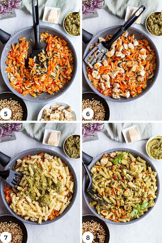 Steps to make the chicken pesto pasta.