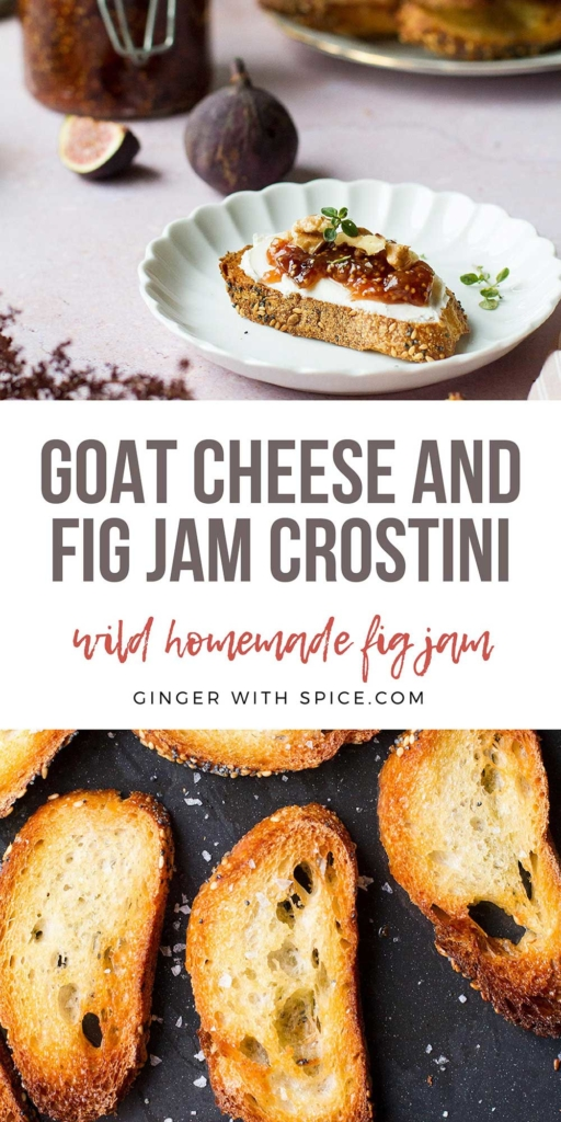 Two images from the post and text overlay in the middle. Pinterest pin for crostini.