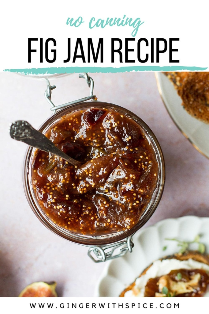 Close-up of fig jam and text overlay at the top. Pinterest pin.