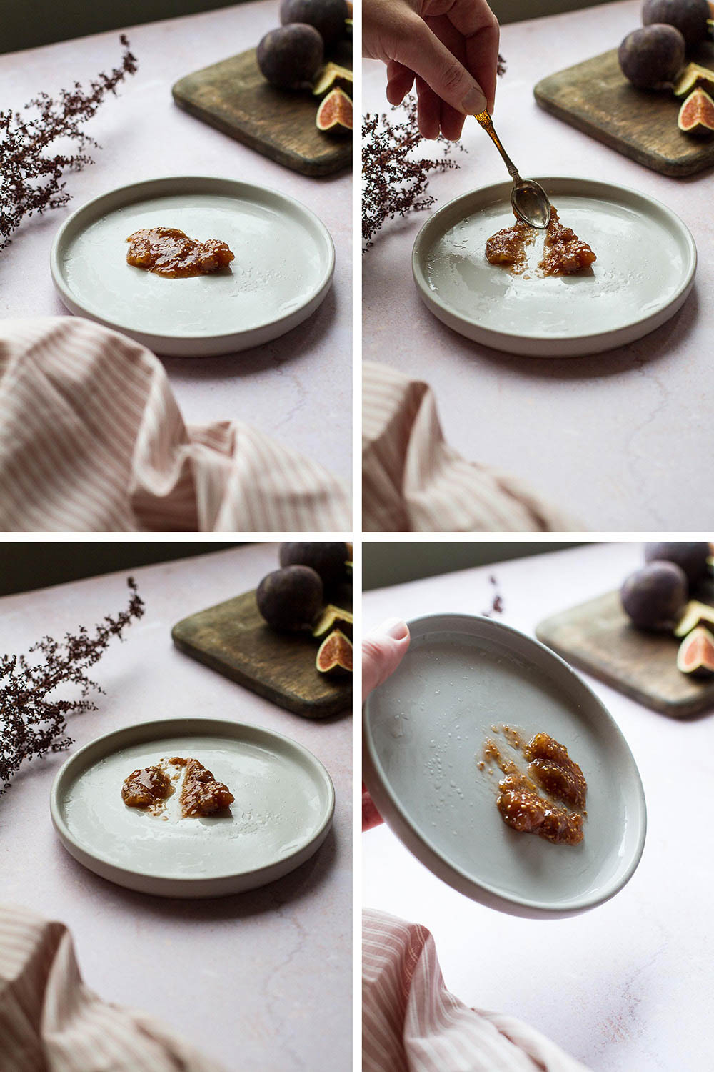 Steps to test the gelling of jam on a cold plate.