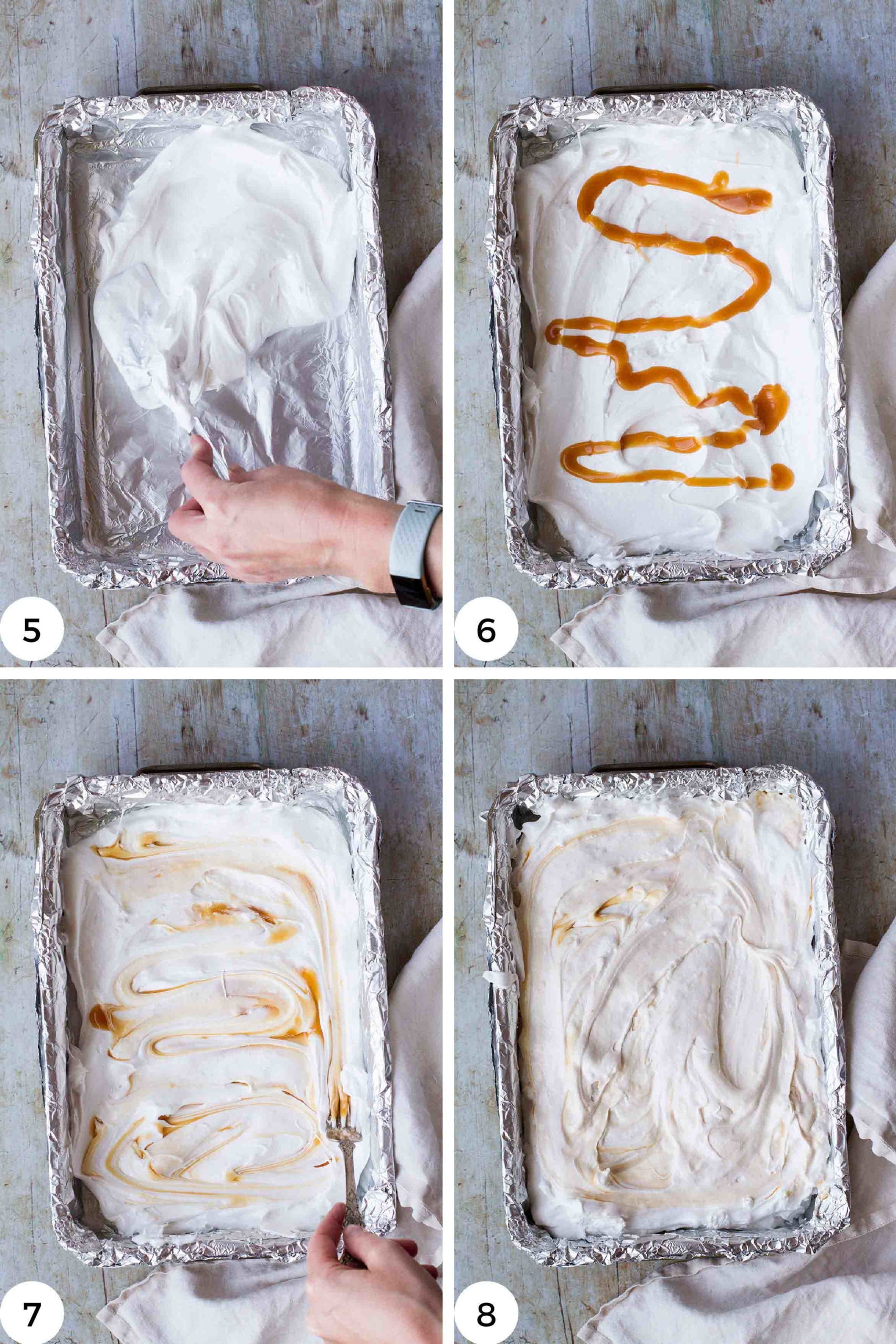 Steps to make the salted caramel ripples.