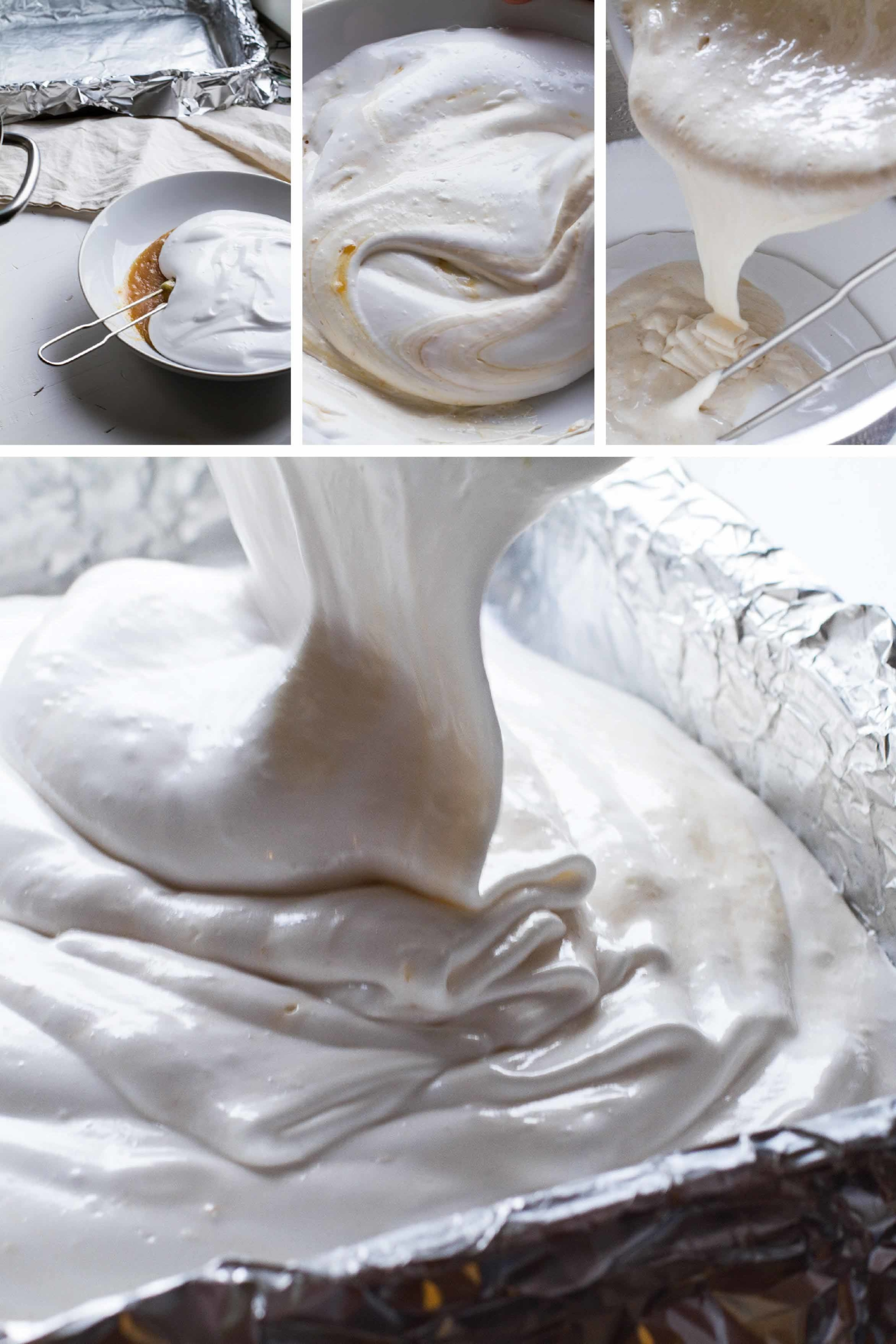 Steps to make it with salted caramel sauce inside the marshmallow.
