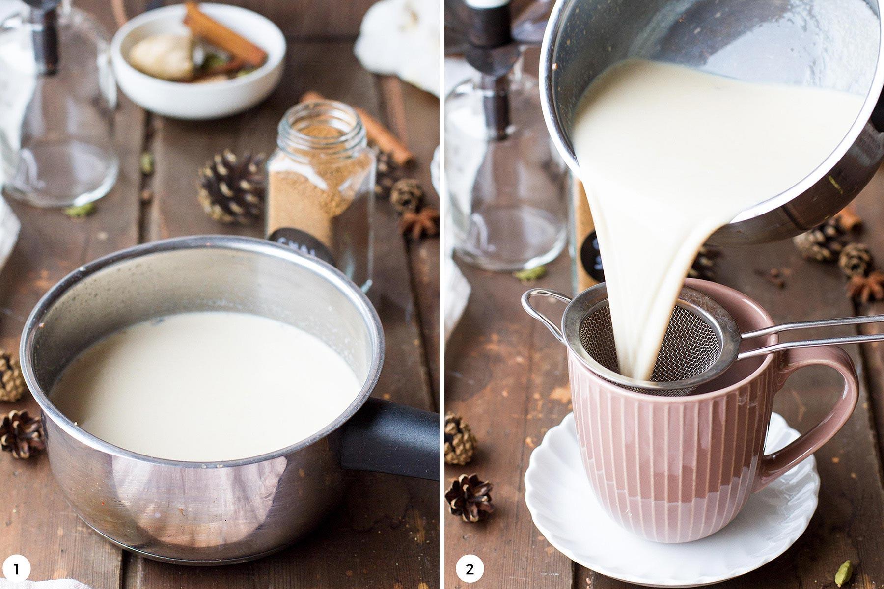 Steps to make chai tea latte.