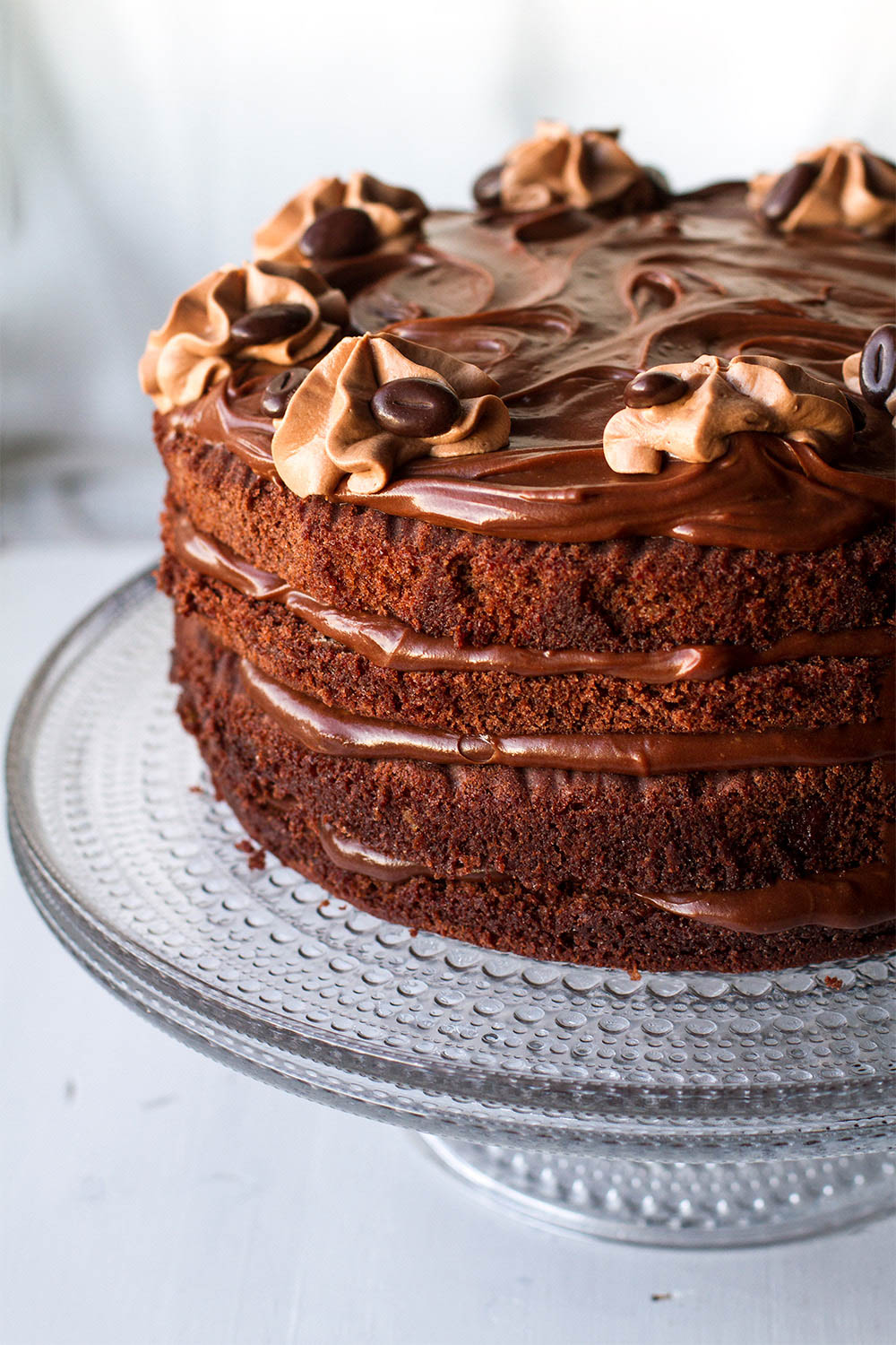 Layer chocolate cake with buttercream frosting.