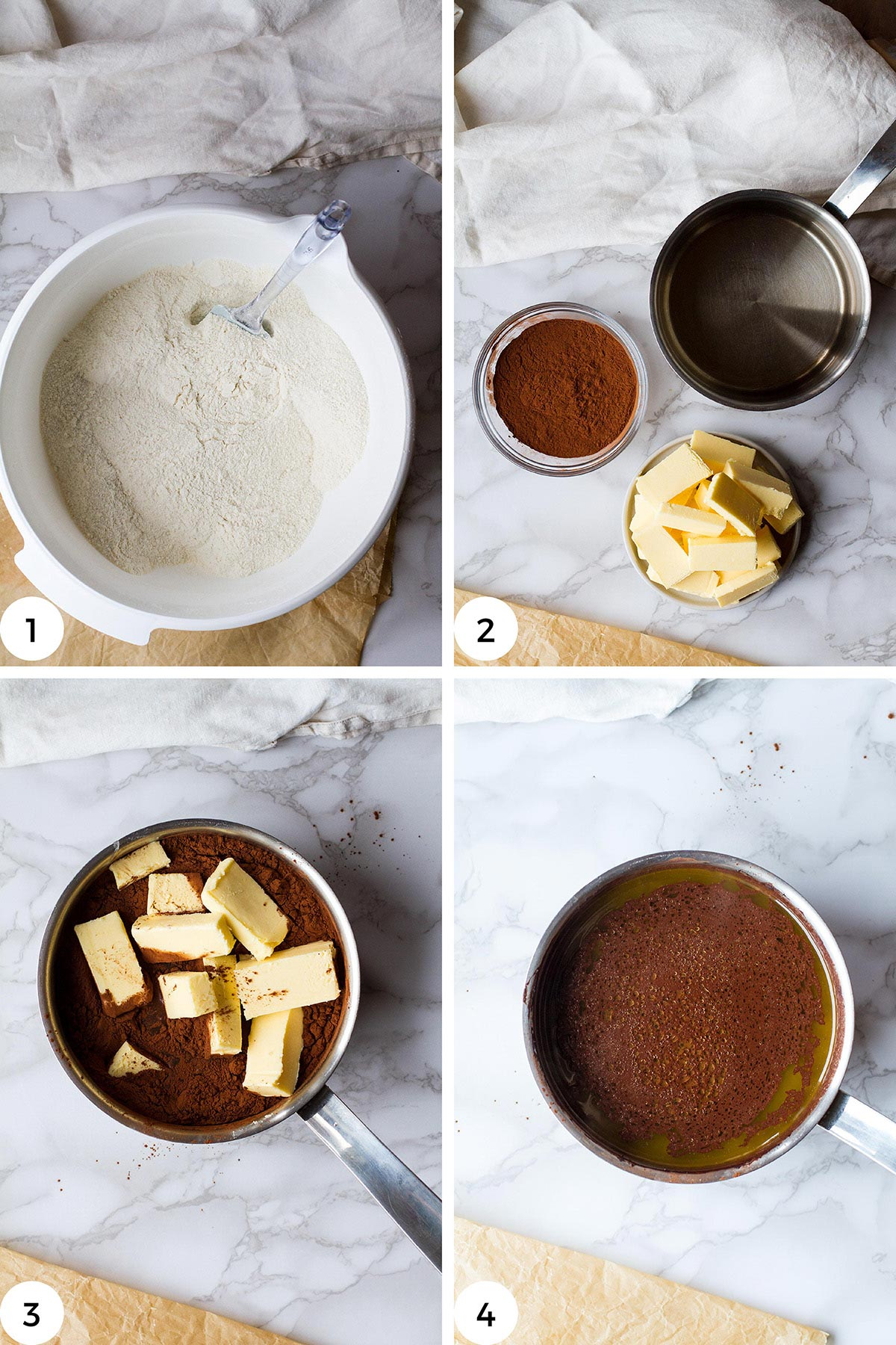 Steps to make chocolate butter mixture.
