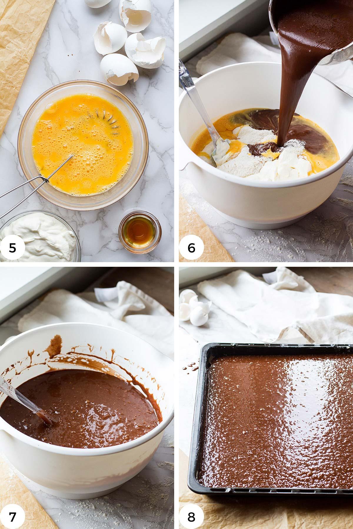 Steps to make chocolate cake batter.